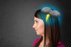 Girl with thunderstorm lightning headache Royalty Free Stock Photos