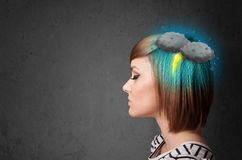 Girl with thunderstorm lightning headache Stock Photo