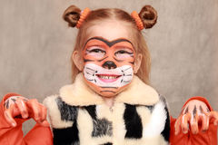 Girl-Tiger Royalty Free Stock Photo