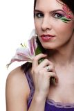 Girl with tiger lily Stock Image