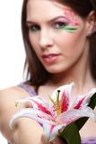 Girl with tiger lily Royalty Free Stock Photography