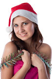 Girl with tinsel Royalty Free Stock Photo