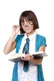 Girl tips her glasses. Stock Images
