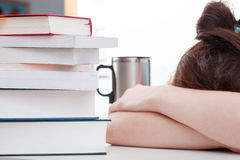 Girl tired of studying Stock Photo