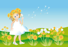 Girl on to the meadow with dandelions Royalty Free Stock Images