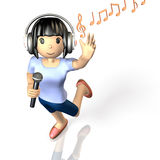 Girl to sing at karaoke Stock Images