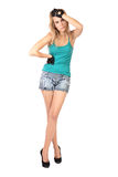 Girl to the utmost in shorts and gloves isolated Stock Photo