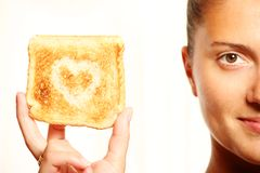Girl and toast Royalty Free Stock Photo