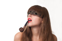 Girl with tobacco pipe Stock Photo