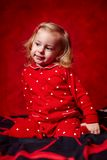 Girl toddler in her pajamas before sleeping Royalty Free Stock Photos