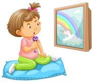Girl toddler looking at unicorn. Illustration stock illustration