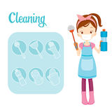 Girl With Toilet Cleaning Equipment And Outline Icons Set. Housework Appliance Domestic Tools Computer Icon Cleaning Symbol Icon Set Spring Season Royalty Free Stock Image