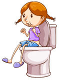 Girl and toilet Royalty Free Stock Photos