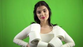 Girl with toilet paper on green screen coronavirus panic quarantine