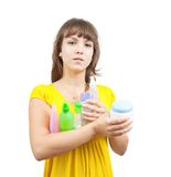 Girl with  toilletries Royalty Free Stock Image