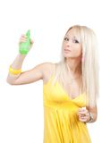 Girl with  toilletries spray Royalty Free Stock Image