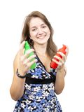Girl with  toilletries spray Royalty Free Stock Photography