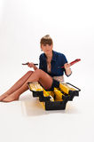 Girl with tool box Royalty Free Stock Photos