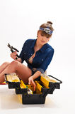 Girl with tool box Stock Image