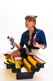 Girl with tool box Stock Photos