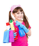 Girl with tools for house cleaning  on white background Royalty Free Stock Images