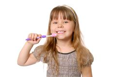 Girl with tooth-brush. Stock Photos