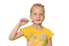 Girl with tooth-brush. Royalty Free Stock Photos