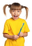Girl with tooth brush Stock Image
