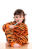 Girl and tooth-brush Royalty Free Stock Photography