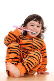 Girl and tooth-brush Stock Photo