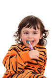 Girl and tooth-brush Royalty Free Stock Photos