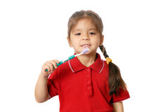 Girl with tooth-brush over white Stock Image