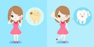 Girl with tooth. Cute cartoon girl with tooth on blue background Royalty Free Stock Images