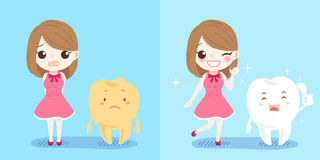 Girl with tooth. Cute cartoon girl with tooth on blue background Royalty Free Stock Photography