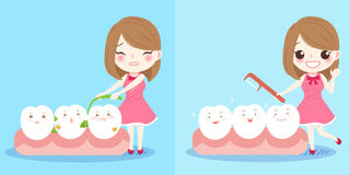 Girl with tooth. Cute cartoon girl with tooth on blue background Stock Image