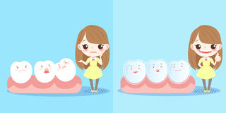 Girl with tooth. Cute cartoon girl with tooth and brace Stock Photos