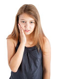 Girl with toothache royalty free stock photos