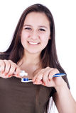 Girl with toothbrush Royalty Free Stock Photos