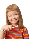 Girl with toothbrush Stock Photography