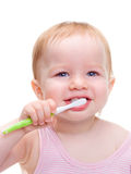 Girl with toothbrush  isolated Stock Photos