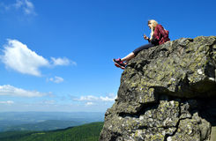 Girl at the top of Grosser Arber mountain in National park Bayerische Wald, Germany. Royalty Free Stock Photography