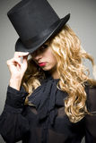 Girl with top hat Stock Photography