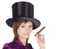 Girl in top hat (cylinder) Stock Photography