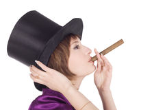 Girl in top hat (cylinder) with cigar Stock Images