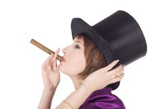 Girl in top hat (cylinder) with cigar Stock Photos