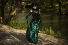 Girl in top hat. A girl in gothic outfit in the woods with the dogs Royalty Free Stock Photo