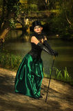 Girl in top hat. A girl in gothic outfit in the woods with the dogs Royalty Free Stock Photos