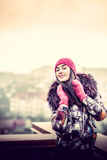 Girl on the top of high building Royalty Free Stock Photos