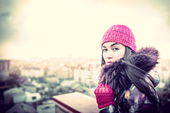 Girl on the top of high building Stock Image