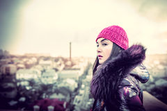 Girl on the top of high building Stock Images